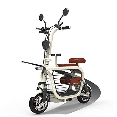 LILIJIA Einstellbares Leichtes E-Bike Aus Magnesiumlegierung,10-Zoll-gummireifen 48 V, 400 W, 25 Km/H, Elektrofahrräder für Erwachsene,Sportradfahrer Pendler Großer Stauraum,Rosa,15A/km