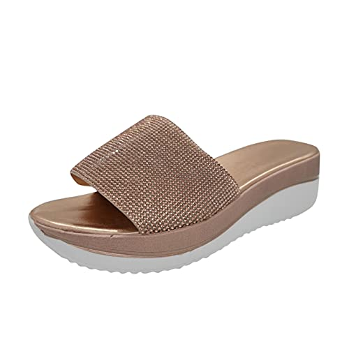 TYTUOO Sandalias de plataforma de diamantes de imitación de las mujeres zapatillas punta abierta Slip-On diapositivas mediados de tacón alto casual moda color sólido, B Gold, 39 EU
