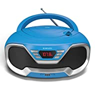 Retro style Bluetooth CD player with modern features: Great kids CD player or for adults and elderly alike, the CD200 comes in 4 colours - Black, Blue, Pink and Red. With a versatile set of features, this modern makeover of the well-loved retro boomb...