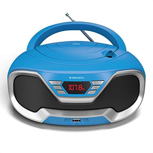 Oakcastle CD200 Tragbarer CD-Player mit Bluetooth & FM-Radio, 3,5-mm-AUX-Kopfhöreranschluss und USB-Eingang, für Erwachsene und Kinder mit Stereolautsprechern (blau)