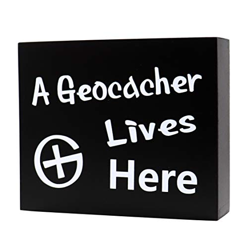 JennyGems Geocache Swag and Supplies - Freestanding Wood Sign - A Geocacher Lives Here - Geocaching Gifts, Geocacher Supplies