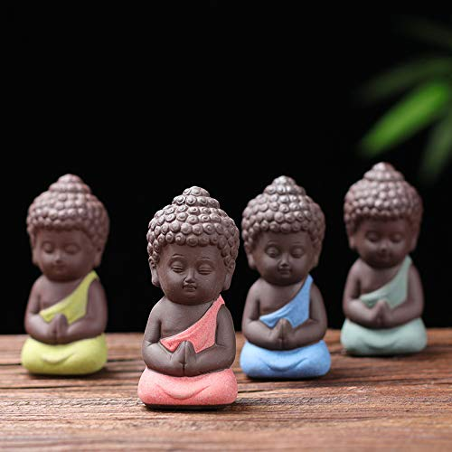 4pcs Ceramics Porcelain Buddha Little Monk Figurines Cute Small Buddha Statue India Yoga Mandala Sculptures Monk Figurine Shaolin Temple Monks Monk Tea Pet Decoration on Kung Fu Tray Home Decor