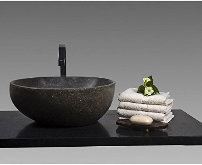 Wohnfreuden Waschbecken aus Stein Steinwaschbecken 40 cm rund für Gste WC Bad     Naturstein für Waschtisch
