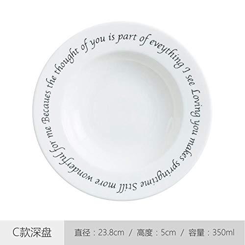WHWH Guten Morgen Teller Nordisches kreatives westliches Geschirr 1 Frühstücksset Pastateller-C tiefer Teller
