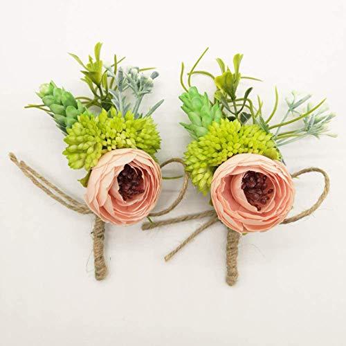 Yokoke Artificial Peony Silk Flower Boutonniere Bouquet Corsage Wristlet Vintage Fake Succulent Plants Pink Peach for Wedding Decor 2 Pcs (Blush)