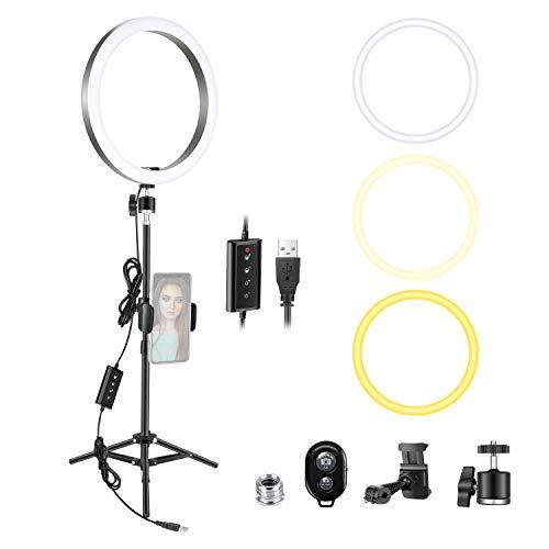 ring light 80 cm Neewer 10 Pollici Luce LED Anulare con 80cm Treppiedi & Supporto Clip per Smartphone