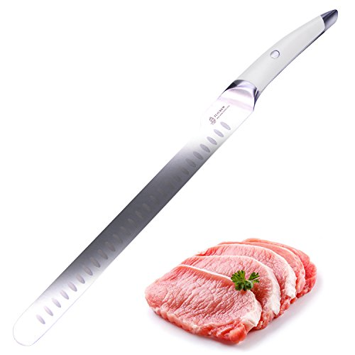 TUO CUTLERY Slicing Knife 12'' White Handle-Japanese Ultra Stainless Steel Kitchen Knife