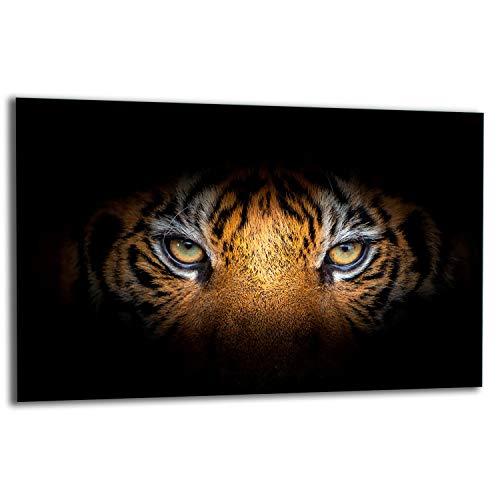 TMK   Placa para cubrir la cocina de 80 x 52 cm, 1 pieza, protección contra salpicaduras, protección contra salpicaduras, placa de cristal, tabla de cortar, gato tigre