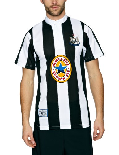 Score Draw Official Retro Newcastle United 1996 Men's Retro Football Shirt - Black and White, X-Large