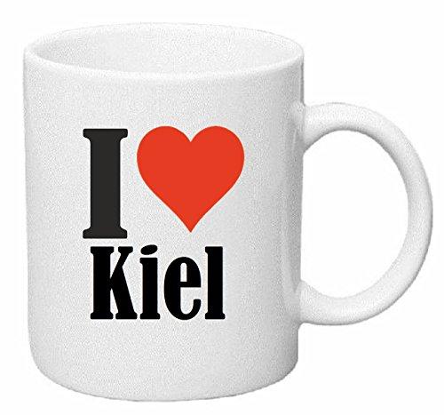 Reifen-Markt Kaffeetasse I Love Kiel Keramik Höhe 9,5cm ? 8cm in Weiß