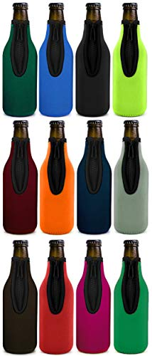 Beer Bottle Insulator Sleeve Different Color. Zip-up Bottle Jackets. Keeps Beer Cold and Hands Warm. Classic Extra Thick Neoprene with Stitched Fabric Edges, Enclosed Bottom, Perfect Fit (Pack-of-12)