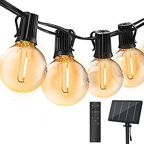 30M Catena Luminosa Esterno Solare Dimmerabile, Bomcosy Luci Solari Esterno LED con Telecomando, G40 Filo Lampadine Luminarie Lucine da Esterno Impermeabile Decorative per Terrazzo, Giardino, Balcone