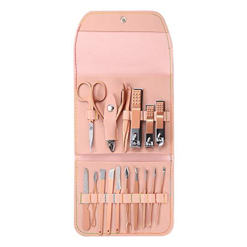 16-teiliges Nagelknipser-Set Luxus-Maniküre-Pediküre-Kit, Beauty-Kit, Edelstahl mit Ledertasche für Männer und Frauen