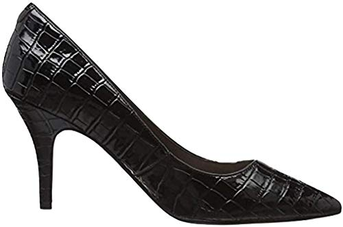 Mid Heel Flex Sole Court Croc Shoe (38 EU/UK 5, Schwarz [Black])