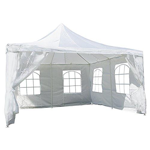 Nexos Hochwertiges Festzelt Partyzelt Pavillon 4 x 4 m weiß mit Seitenteilen für Garten Terrasse Feier Markt als Unterstand Plane wasserdicht PE Dach 250 g/m² beschichtete Stahlrohre