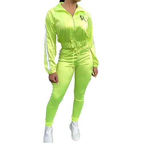 Kunfang Líneas Reflectantes de Neón Conjuntos a Juego Mujeres Ropa Deportiva Informal Conjuntos de 2Piezas Satin Zipper Chaqueta y Pantalones de Moda Conjunto