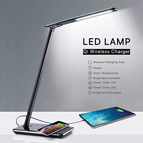 Lampara Escritorio LED con Base de Carga Inalambrica Wireless y Puerto USB | Lamparas de Mesa Mesilla de Noche Flexo Le | Desk Lamp 4 Luces 5 Brillos 2 Temporizadores | Luz Lectura Proteccion Ojos