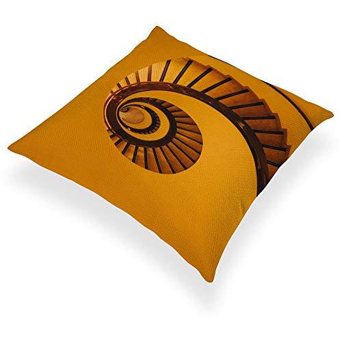 DKE&YMQ Funda de almohada de lino y algodón ligero, para cama doble, escaleras, color amarillo en espiral, tonos y barandilla