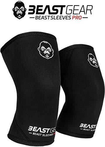Beast Gear Beast Sleeves Pro Kniebandage aus Neopren, doppelschichtig, 7 mm, für Unterstützung und Schutz. Gewichtheben, Crossfit, Powerlifting, Strongman, Kniebeugen, Kreuzheben, Olympisches Lifting