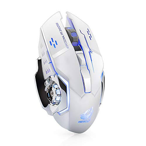 haixclvyE Free Wolf X8 Gaming Mouse Silent 2.4GHz 2400DPI 6 Keys Wireless Optical Mouse USB Receiver White