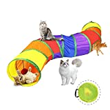 Forbena Cat Tunnel with Play Ball and Peek Holes, Collapsible S-Shaped Pet Cat Tunnel Tube for Indoor Cats, Fun Toy for Our Lovely Feline Friends Exercise, Cat, Puppy, Kitten, Rabbit