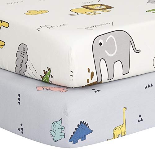 "TILLYOU Luxury Softer Thicker Crib Sheets Set, 100% Egyptian Cotton Printed Toddler Sheets for Baby Boys Girls, Breathable Comfy Durable, 28""x52"", 2 Pack Dinosaur (Gray) & Animals Party (White)"
