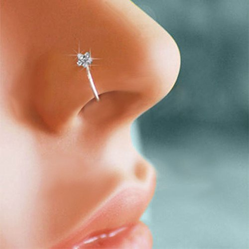 KCHEX Small Thin Flower Clear Crystal Nose Ring Stud Hoop-Sparkly Crystal Nose Ring