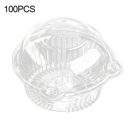 100 x Cupcake Box Individual Cupcake Boxes Clear Plastic Cupcake Containers Cake Box Muffin Case Pods Disposable Box (Transparent)