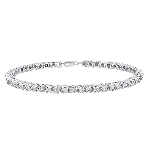 Dazzlingrock Collection 0.10 Carat (ctw) Round Cut White Diamond Ladies Tennis Bracelet 1/10 CT, Sterling Silver