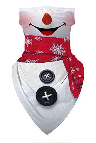 Ainuno Christmas Mask for Men Women Funny Mask Snowman Printed Ugly Xmas Face Covering with Ear Loops Scarf Face Bandana Mask Fun Neck Gaiter Cute Holiday Mask Christmas Vacation Party Accessories