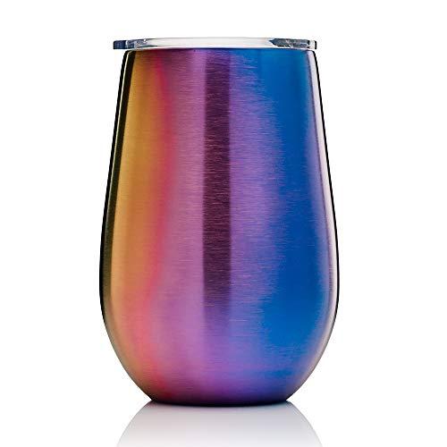 BOHORIA® Premium Edelstahl Isolierbecher | Thermo-Becher | Wein-Glas to go | Cocktail-Glas | Doppelwandig & Vakuumisoliert – (350ml) | Reisebecher mit Deckel für Kaffee, Tee, Bier, Champagner