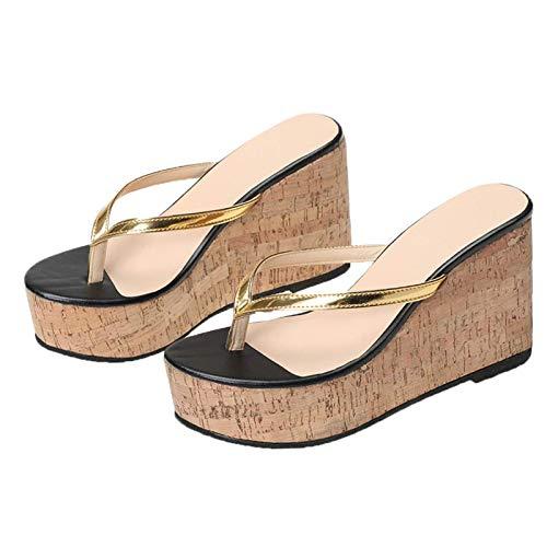 Sandalias Zapatillas Playa Impermeables Tacón Cuña, Cuña Transpirables Sling Back Zapatos, Anillo Dedo Chanclas Mujer Cómoda Plataforma Viaje,A,37