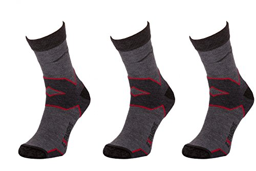 Filmar Factory 3X Set - Trekking Light Chaussettes de Trekking | Chaussettes fonctionnelles | 22% Merino | Coutures Plates | Double Bride | Trekking Light Grey/Red | 35-38