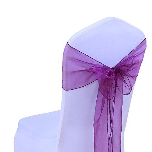 SINSSOWL - 100 cintas de organza para sillas, lazos de boda, decoración de ceremonia, fiesta, evento, cumpleaños, 17 x 275 cm, 22 colores (no incluyen las fundas de silla), color morado