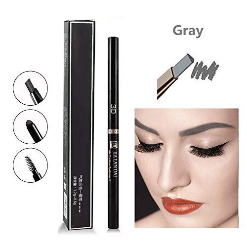 Lápiz de cejas 3 en 1, lápiz de cejas automático de doble cabeza, maquillaje duradero impermeable y resistente al sudor (Gris)