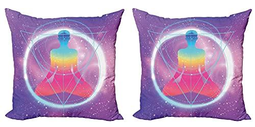 Indie - Funda de cojín (2 unidades, diseño de galaxia de meditación humana, con cremallera, doble cara, impresión digital, 45 x 45 cm), color rosa lavanda