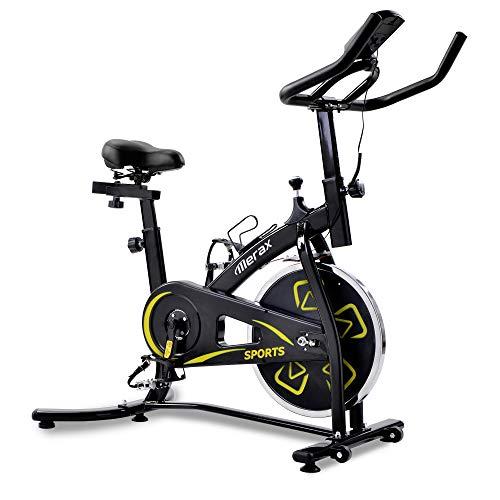 Bicicleta estática de interior, Spinning Bike Fitness con pantalla LCD, resistencia ajustable, bicicleta de gimnasia para entrenamiento de cardio de piernas