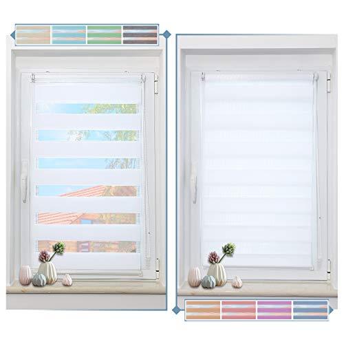 Zarnan Klemmfix Doppelrollo ohne Bohren 65x120cm(BxH) Weiß,Duo Rollo Blickdicht Zebrarollo für Fenster&Tür Wohnzimmer Küche Büro