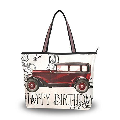 LORONA Vrouwen Gelukkig Verjaardagskaart Wenskaart Canvas Schouder Handtas Grote Capaciteit Tote Bag