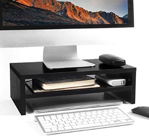 Wood Monitor Stand Riser, Averrex Laptop Printer Screen Stand Rack, 2 Tiers TV PC Shelf Desktop Organizer for Computer, Notebook (Black)