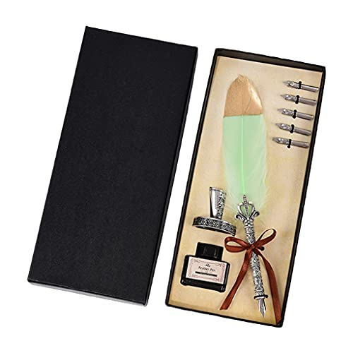 Wenyounge Juego de bolígrafos de caligrafía Juego de bolígrafos de Escritura Pluma de Tinta con 5 Puntas de Repuesto Tinta de Soporte de Base de Tinta