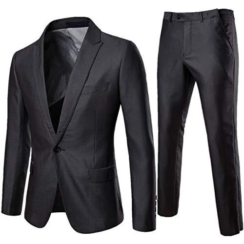 AOWOFS Anzug für Party, Hochzeit, Business, Slim Trada, Kostüm, einfarbig Gr. Large, Grau 2