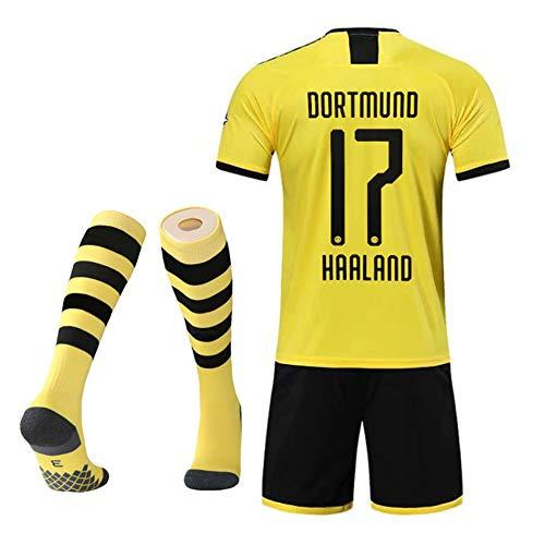 MRRTIME Camisetas de fútbol para niños,Götze 10 Reus 11 Sahin 8 Håland 17 Home and Away Aficionados al, Conjunto de Ropa Deportiva Trajes Personalizados Uniformes del Equipo Entrenamiento calcetine