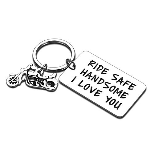 Ride Safe Keychain Motorcycle Gifts to Husband Boyfriend Lover Rider New Liscense Biker Birthday Fathers Day Gift for Dad Son Christmas New Year Present for Him Her Ride Safe Handsome I Love You