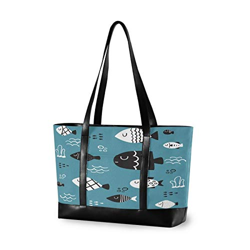 Cartoon Hand Drawn Fish 14 15 15.4 15.6 inch Laptop Tote Bag for Women Large Lightweight and waterproof Computer Handbags Laptop Shoulder Messenger Bag