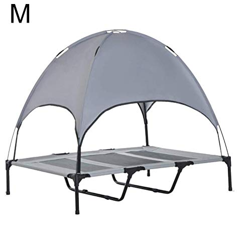 Dog bed with canopy, dog bed with roof, raised pet bed, movable waterproof outdoor, breathable pet deluxe dog lounger with sun sail, two-layer, reinforced, grey, Medium