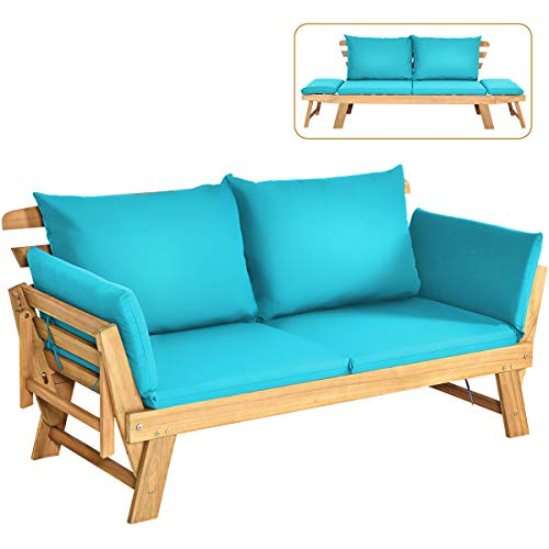 Tangkula Acacia Wood Patio Convertible Couch Sofa Bed with Adjustable Armrest, Outdoor Daybed with Cushion & Pillow, Folding Chaise Lounge Bench Ideal for Porch Courtyard Poolside (Turquoise)