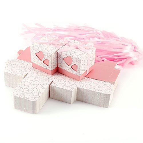 Set de 100 Cajas para dulces bombones Cajitas de boda regalo Caja de cuadro Romántico con Corazón cinta (Rosa)