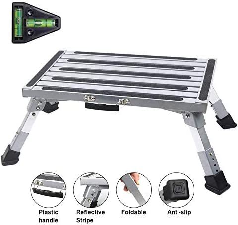 RV Step RV Step Stool Adjustable Height Aluminum Folding Platform Step with Non Slip Rubber product image