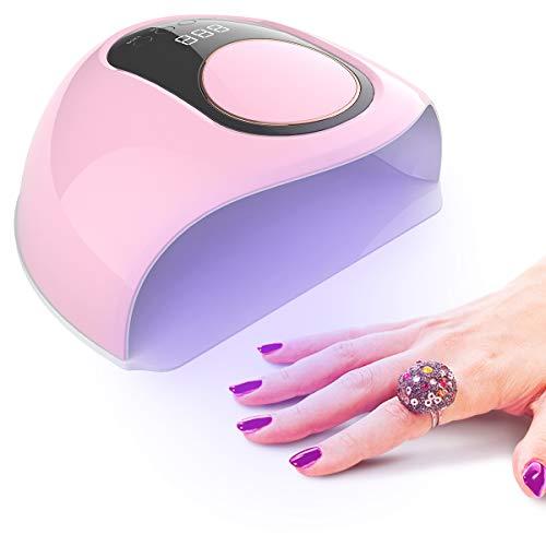 UV Lampe für Gelnägel 168W Nageltrockner für Alle Nagellacke mit 42 UV/LED Lichtperlen, LCD Display, 10S/30S/60S/120S Timer für Professional Salon und Zuhause(Rosa)